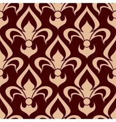 Brown fleur-de-lis seamless floral pattern vector