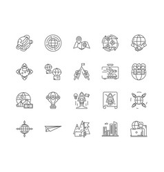 business travel line icons signs set vector image