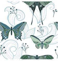 butterfly seamless pattern with swirls vector image