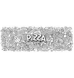 cartoon cute doodles pizza word vector image