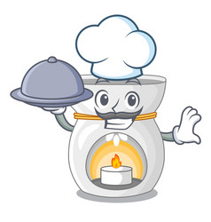 Chef with food aroma lamp with burning candle vector