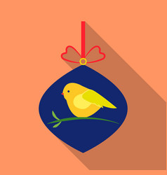 christmas bauble with bird icon in flat style vector image