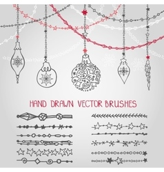 Christmas garland brushes set with balls vector