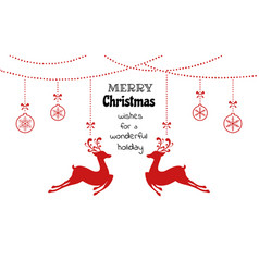 christmas ornaments hanging with reindeer vector image