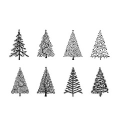 christmas tree collection for your design vector image