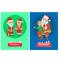 christmas winter holidays santa claus and kid vector image