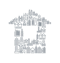 City buildings lined icons set vector