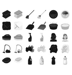 Cleaning and maid blackmonochrome icons in set vector