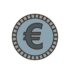 Coin euro isolated icon vector