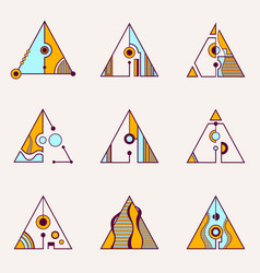 collection of geometric triangles vector image