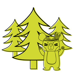 Color ethnic bear animal with pine trees vector