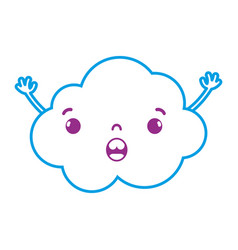 Color line surprised and cute cloud kawaii weather vector