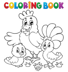 coloring book chickens and hen theme 1 vector image