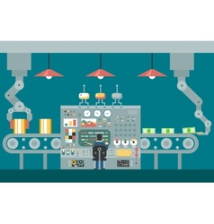 Conveyor robot manipulators work businessman in vector image