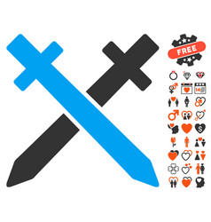 crossing swords icon with dating bonus vector image