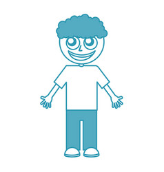 Curly haired boy character vector