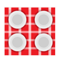 dishes set on a tableclothes vector image
