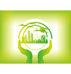 Eco city background vector image