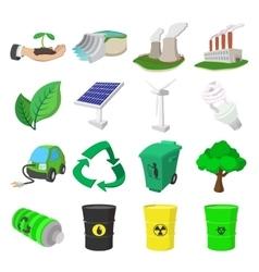 Ecology cartoon icons set vector