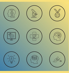 Education icons line style set with self study vector
