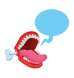 False chattering jaws with speech bubble vector