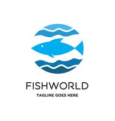 fish world logo vector image