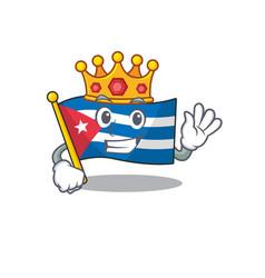 Flag cuba scroll a stylized king on cartoon vector