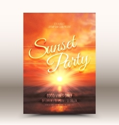 Flayer Design Template Sunset Party vector image