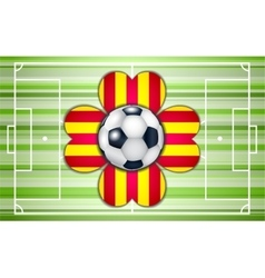 Football field with ball and flower vector