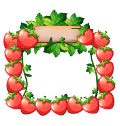 frame design with fresh strawberries vector image