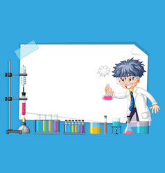 frame design with scientist working in lab vector image