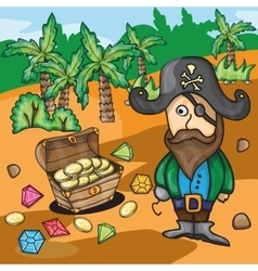 Fun cartoon pirate with treasure vector image