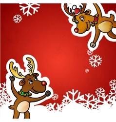 Funny Cute Reindeer Christmas Red vector image