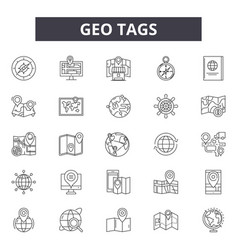 geo tags line icons signs set outline vector image