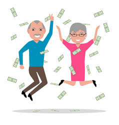 grandparents won the big prize and became rich vector image