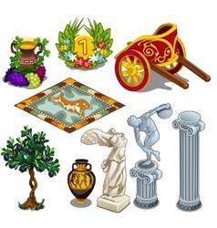 Greek statues and other symbols ancient culture vector