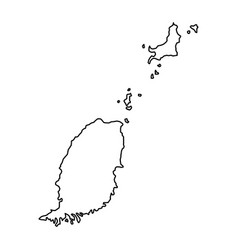 grenada map of black contour curves of vector image
