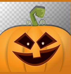 halloween cartoon pumpkin with face on transparent vector image