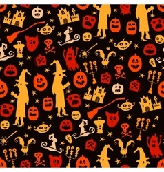 Halloween seamless silhouette doodle pattern vector image