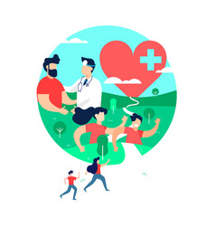 health and exercise concept of people with doctor vector image