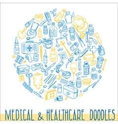 Health care hand drawn background vector