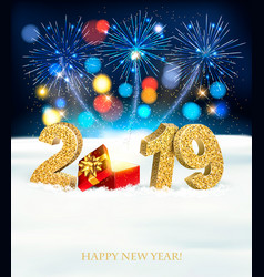 holiday new year background with a firework and vector image