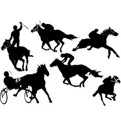 Horse racing silhouettes colored for designers vector