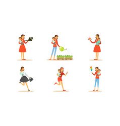 Housewife engaging in different domestic works vector