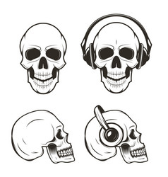 human skull set hand drawn vector image