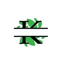Initial k green leaf monogram split letter vector