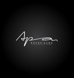 Initial letter ap logo - hand drawn signature vector