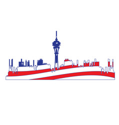 isolated cityscape of seattle vector image