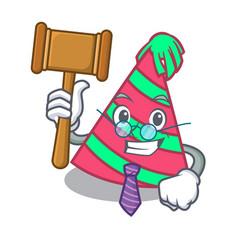Judge party hat mascot cartoon vector