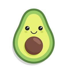 kawaii cute avocado with a smile vector image